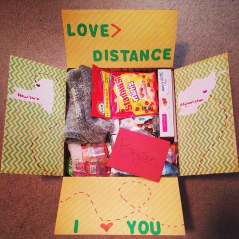 """Care package number 2! """"Love > Distance"""" Deployment. Deployment care package."""