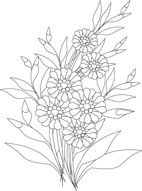 Un Bouquet De Fleurs Coloriage Fleur Coloriage