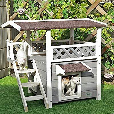 Petsfit 2 Story Outdoor Weatherproof Cat House With Stairs 1 Year Warranty Outdoor Cat House Cat Condo Heated Cat House