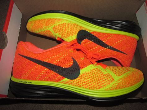 Nike Flyknit Lunar3 Mens Running Shoes 11 Hot Lava Volt