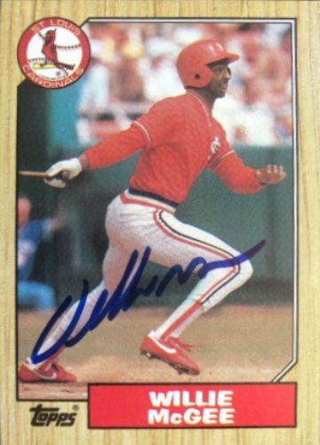 1987 Topps Willie Mcgee Baseball Autographed Trading Card Willie Mcgee Baseball Baseball Today