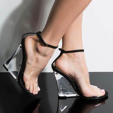 Twinklemoda Transparent Pvc Buckles Heels #AnklestrapsHeels
