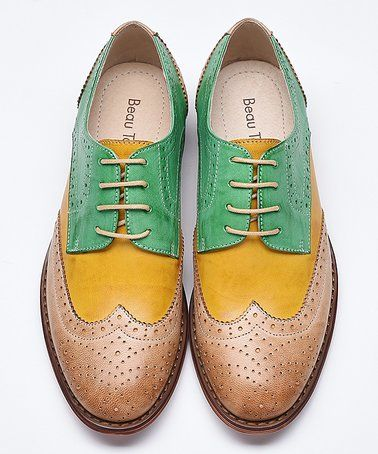 Leather Color-Block Oxfords
