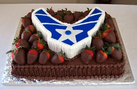 choclate covered strawberries on choclate cake! This is what I made for my Daughters going away party to the Air Force