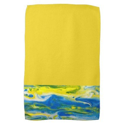 Blue Yellow Abstract Kitchen Towel Zazzle Com With Images
