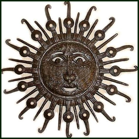 "Formal Sun Design - Haitian Steel Oil Drum Metal Sculpture Wall Hanging - 24"" - $84.95 -  Steel Drum Metal Art from  Haiti - Interior or Garden Décor   * Found at  www.HaitiMetalArt.com"