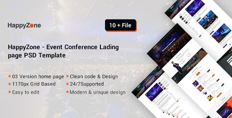 HappyZone Event Conference landing page psd template Preview
