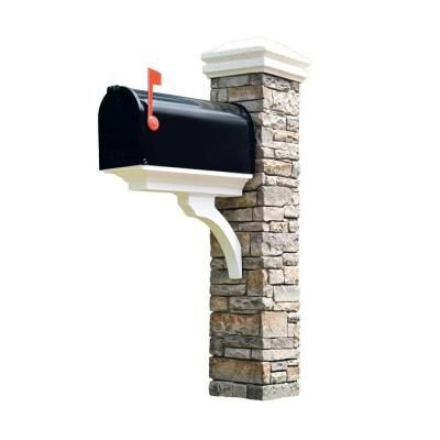 """Eye Level brand Gray Stacked Stone Mailbox Post, Brace and Curved Cap-50-KITGWC at Home Depot, $180, slides over existing mailbox post, doesn't come with mailbox, a brown hammered metal would look good (needs to be a standard size, if use extra large attach a piece of wood to brace), use 4"""" deck screws instead of screws that come with it, screw an additional 2x4 into one side and back of existing post to add stability. Push the stone post against the street facing side of the inner 4x4 post."""