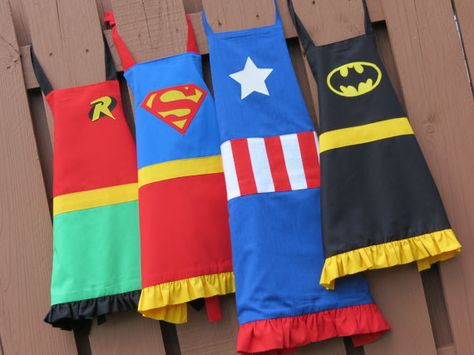 Arent these super!? You too can be a superhero with these awesome aprons! perfect for cookouts, bbq, dress-up, gardening, or any other super activity :)  When ordering please leave a note about size, gender, and superhero :)
