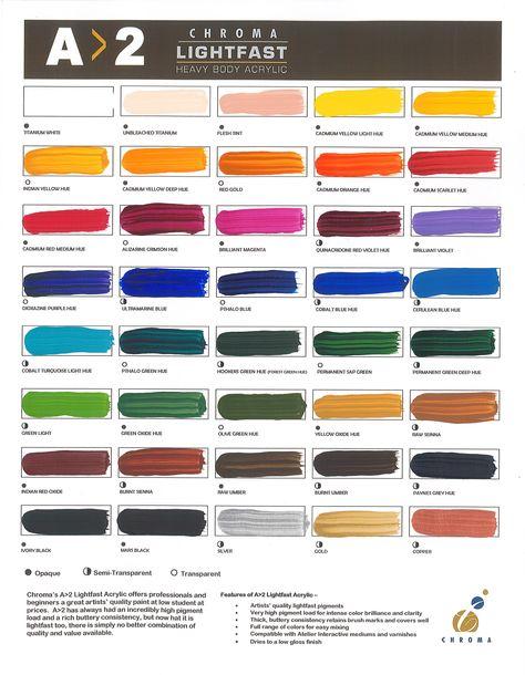 A2 Lightfast Heavy Body Acrylic Hand Painted Color Chart Low Gloss Acrylic Body