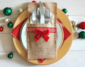 Burlap Utensil Silverware Holder Christmas Holiday Utensil