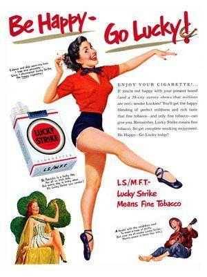 "Lucky Strike ""Be happy - Go lucky""  Filter cigarette"