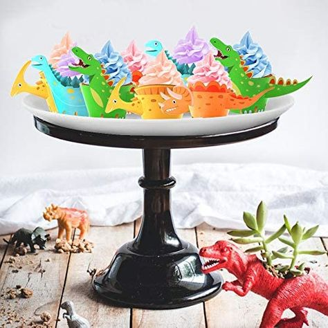48Pack Dinosaur Cupcake Wrappers Toppers ,Konsait Little Dino Cupcake Toppers Cake Table Decorations Party Supplies for Boys Kids Birthday Party Decor Favors