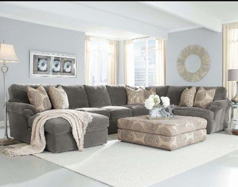Living Room Design With A Small Gray Sectional Living Room