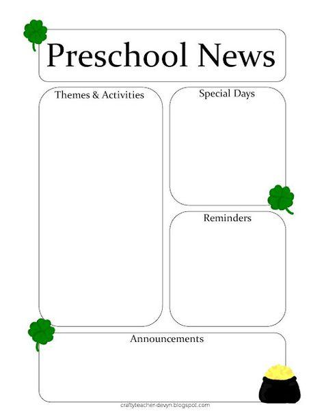 March Newsletter Template By Classroom Newsletters On Preschool Newsletter  ...