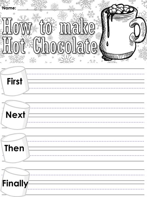 Trendy How To Writing Kindergarten Hot Chocolate 60 Ideas Kindergarten Writing, Kids Writing, Literacy, Sequencing Activities, Writing Activities, Third Grade Writing, Procedural Writing, Christmas Writing, Writing Prompts