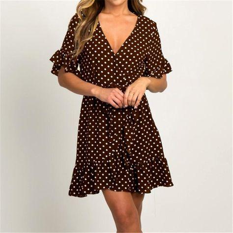 Summer Chiffon Dress Boho Style Beach Dress Fashion Short Sleeve V-neck Polka Dot A-line Party Dress Sundress Vestidos - Brown / XXL