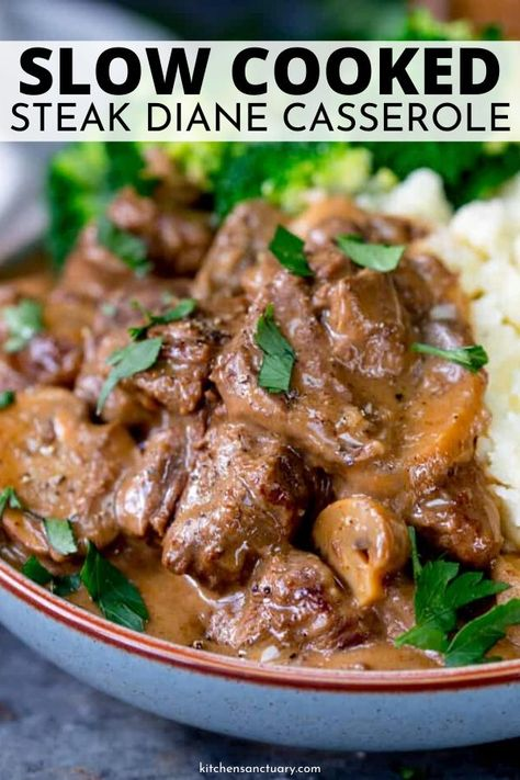 Steak Diane Casserole is a slow cooked recipe in a savory broth, mushrooms, tender steak, and served with your favorite sides. The ultimate comfort food recipe. Whip this up that is crowd worthy. #steak #diane #casserole #slowcooked #steakrecipe #mushrooms #savory #comfortfood #dinner #meal #best #homemade