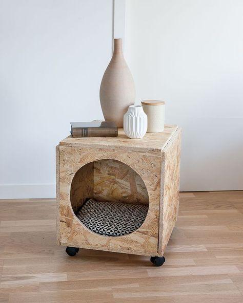 DIY animaux : une cabane pour chat dans une table de chevet - Marie Claire Idées