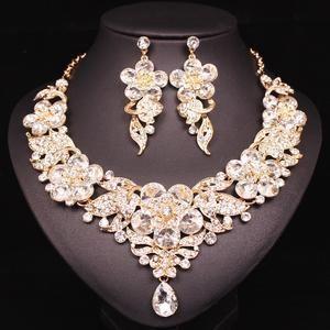 High Quality Fashion Ladies Crystal Rhinestone Flower Earrings Jewelry Set