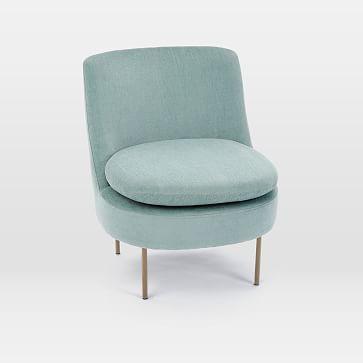 Groovy Modern Curved Slipper Chair Worn Velvet Celadon Products Inzonedesignstudio Interior Chair Design Inzonedesignstudiocom