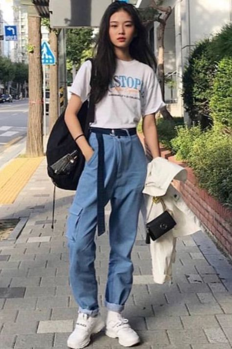 Cute Ulzzang Korean Girl Summer Spring Seoul Casual Comfy Wear Stylish Outfit Vintage Retro Jeans