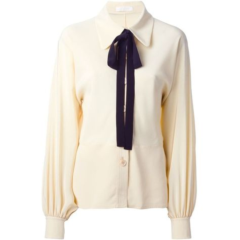 79b6b7409718b Chloé Bow Detail Shirt ($750) ❤ liked on Polyvore featuring tops, tops  unsorted, white shirt, bow top, pleated shirt, white tops and long sleeve  collared ...