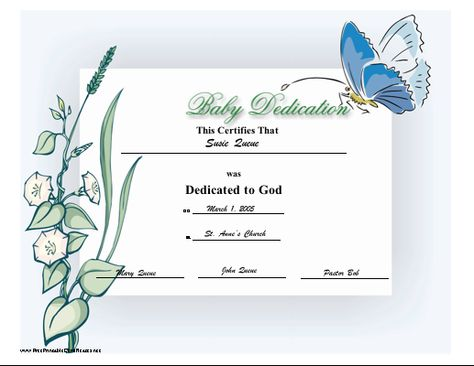 Baby Dedication Certificate  Certificates    Baby