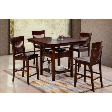 Hodedah 5Piece Pub Set Cappucino Brown  Pub Set Walmart And Captivating Dining Room Tables Walmart Inspiration