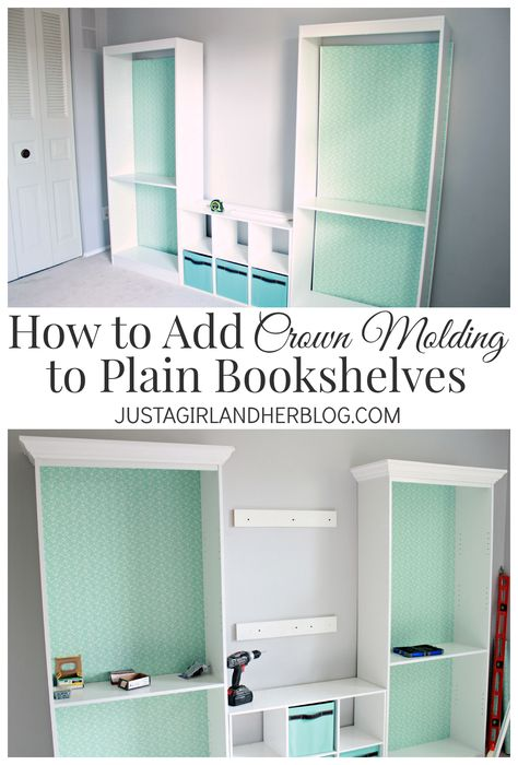 Add crown molding to bookshelves for an upscale look-- such an easy project with a BIG impact!