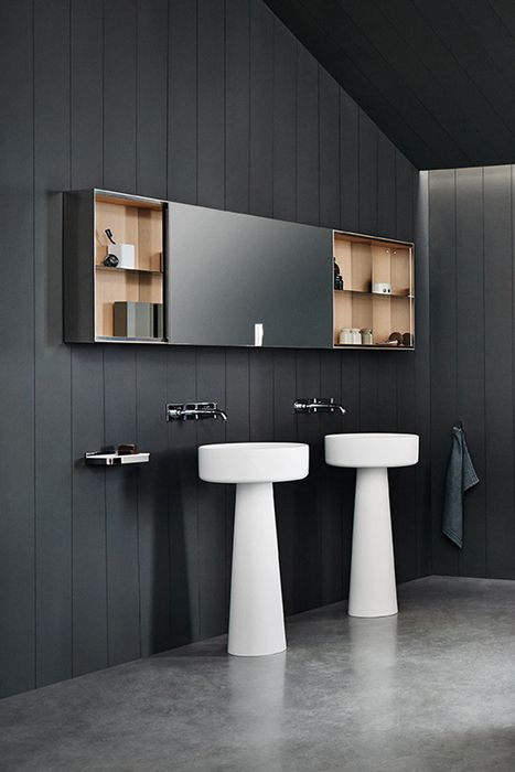 Agape, 027 Mirror units #agapedesign - Wall mounted mirror cabinet in birch plywood with finish in natural, brown or dark oak or teak wood