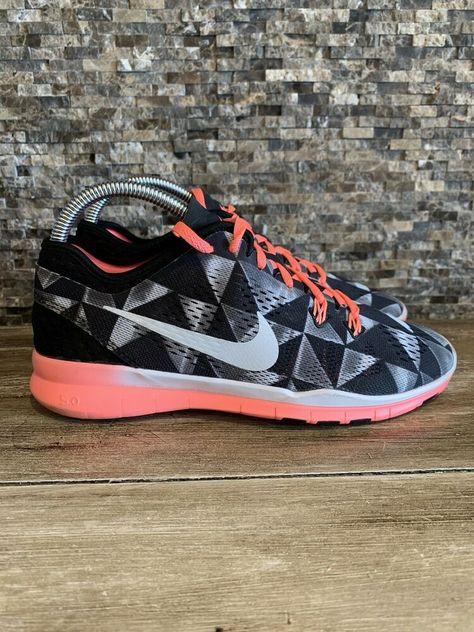 Nike Free 5.0  Running Shoes Women US 6.5 EU 37.5 UK 4 black gray pink geometric #Nike #runningshoes #Casual