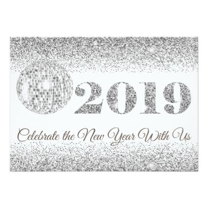 2019 New Year S Eve Glittery Disco Ball Party Invitation Zazzle Com Invitation Card Party Disco Ball Party Card