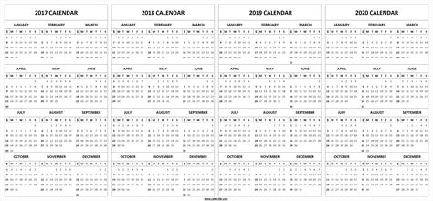 Printable 2017 2018 2019 2020 Calendar Template With Images