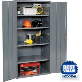 "All-Welded Heavy Duty 16 Gauge Cabinets. These heavy duty cabinets are ideal for storing tools, dies, machine parts or supplies. Box formed 14 gauge steel shelves have up to 900 lb. shelf capacity and adjust at 4"" increments. Channel reinforced doors close securely with all welded full-length piano hinges. Chrome locking handles for security. Durable gray powder coat finish. Shipped assembled. 36Wx18Dx84H $415.95."