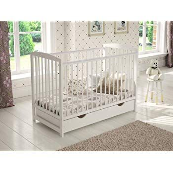 Cot Bed with Foam Mattress and no Drawer White Solid Sleigh Style Cot Bed /& Deluxe Foam or Sprung Mattress Converts into a Junior Bed