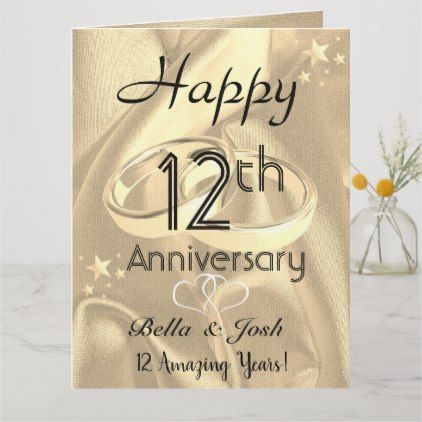 Personalised Vintage Silk 12th Wedding Anniversary Card Zazzle Com In 2020 12th Wedding Anniversary Anniversary Cards Anniversary Cards For Wife