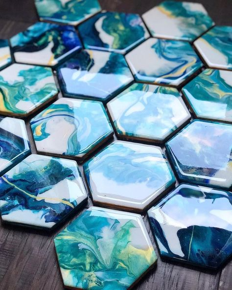 Stunning epoxy coated hexagon coasters done by our Brand Ambassador who also mentioned how amazing these would be as a…