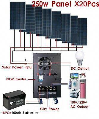 New 8kw Solar Power Generator System For 110v 220v Home Use Shipped By Sea Ebay Solarpanels Solarenergy Solarpower Solar In 2020 Solar Technology Solar Solar Panels