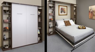 Contemporary Style Queen Size Murphy Bed Easy To Pull Down