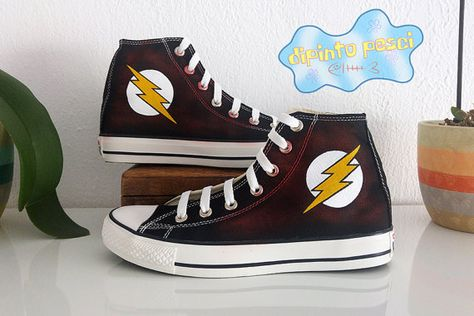 b667c5a3fe1c The Flash Hand Painted Custom Shoes by DipintoPesci on Etsy