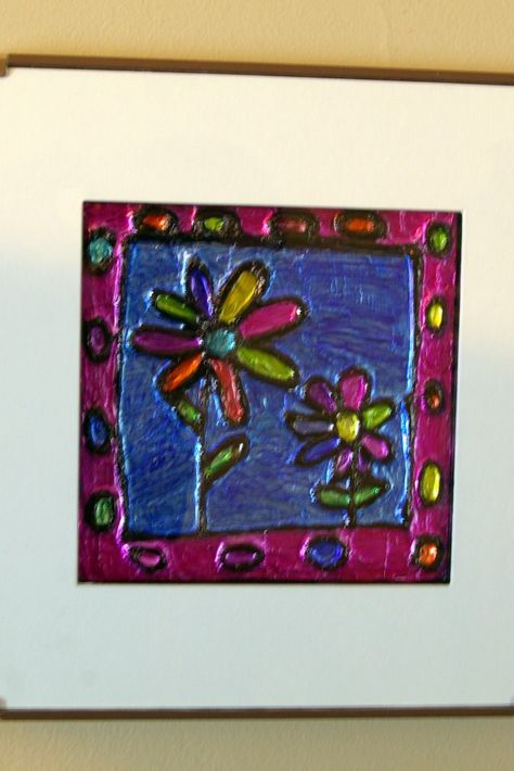 Using tinfoil and sharpie markers (plus a hot glue gun or regular glue w/string) - make faux stained glass art work