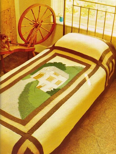 VINTAGE COUNTRY PICTURE HOUSE BEDSPREAD SIMPLE 2 MAKE ARAN 8PLY KNITTING PATTERN