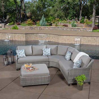 Costa 4 Piece Woven Sectional In 2020 Patio Seating Patio Seating Sets Patio Table Decor
