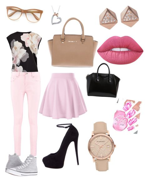 """casual 😊"" by i1826639 ❤ liked on Polyvore featuring Ted Baker, Boohoo, Giuseppe Zanotti, Converse, Michael Kors, Givenchy, Wildfox, Burberry, Disney and FOSSIL"