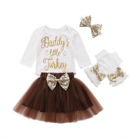 USA Thanksgiving Turkey Newborn Kids Baby Girl Bowknot Short Sleeve Party Dress