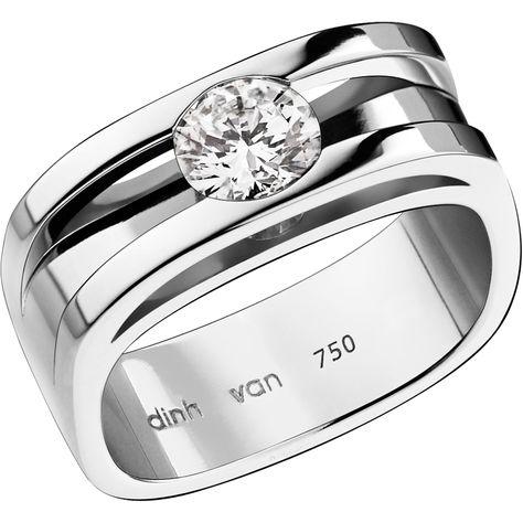 nouveau concept fc0e9 cc7bd Dinh van Solitaire Capucine moyen modèle or blanc et diamant ...