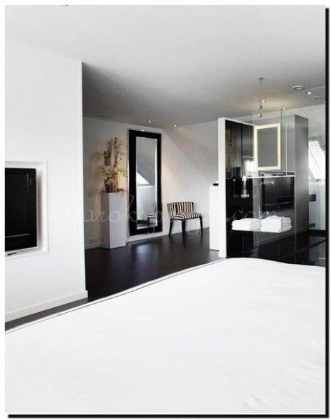 moderne-zwarte-spiegel-met-rvs-rand, past mooi en een industriële ...