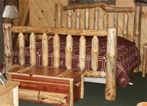 Amish Pine Log Furniture Extra High Bed