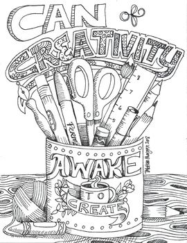 Can Of Creativity Coloring Sheet Art Class Posters Quote Coloring Pages Coloring Book Pages